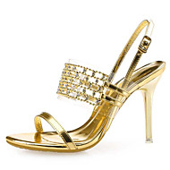 Women's Shoes Leather / Synthetic Stiletto Heel Heels Sandals Wedding / Party & Evening / Dress Black / Silver / Gold