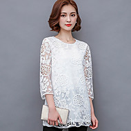 Women's Going out Plus Size / Cute Spring Blouse,Solid Round Neck ½ Length Sleeve White / Black Polyester Sheer