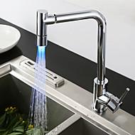 עכשווי ארט דקו / רטרו מודרני תקן Spout טול / גבוה Arc סט מרכזי מקלחת גשם תרמוסטטי LED with  שסתום קרמי חור ידית אחת אחת for  כרום , ברז