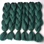 1 streng grønn boks fletninger jumbo hårforlengelser 24inch kanekalon 80-100g / pc gram hårfletting