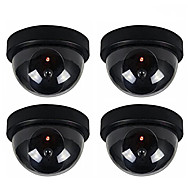 4pcs/Pack Indoor Outdoor CCTV Fake Dummy Dome Security Camera with Flahsing RED LED Light