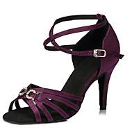 Customizable Women's Dance Shoes Latin / Jazz / Swing Shoes / Salsa / Samba Satin Customized Heel Black / Blue / Purple