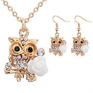 Women European Style Retro Fashion Owl Holding Flower Rhinestone Necklace / Earrings Sets