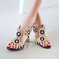 Women's Shoes Heel Heels / Peep Toe Sandals / Heels Party & Evening / Dress / Casual Purple / Silver/7033-1