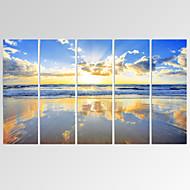 VISUAL STAR®Beautiful Seascape Canvas Print Gloden Beach Canvas Art Ready to Hang