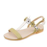 Women's Shoes Leather Flat Heel Sling back/Open Toe Flower Sandals Dress/Casual Green/White/Beige