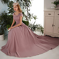 Formal Evening Dress Ball Gown Scoop Court Train Satin
