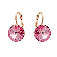 HKTC Concise Ladies Jewelry 18k Rose Gold Plated Dazzing Pink Cubic Zirconia Pierced Clip Earrings