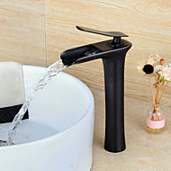 Moderni Pesuallas Vesiputous with  Keraaminen venttiili Yksi kahva yksi reikä for  Oil-rubbed Bronze , Kylpyhuone Sink hana