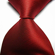 New Solid Red Scarlet Checked JACQUARD WOVEN Men's Tie Necktie TIE2034