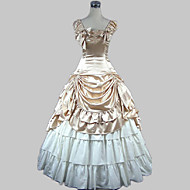 Sleeveless Floor-length Beige Satin Cotton Princess Lolita Dress