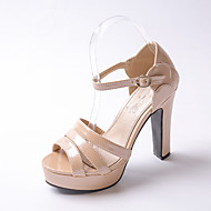 Women's Shoes Chunky Heel Heels / Peep Toe / Platform Heels Party & Evening / Dress / Casual Green / Silver / Almond
