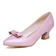 נעלי נשים-בלרינה\עקבים-דמוי עור-שפיץ-שחור / ורוד / לבן-משרד ועבודה / שמלה-עקב נמוך