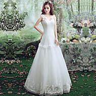 A-라인 웨딩 드레스 바닥 길이 스트랩 레이스 / 튤 와 레이스