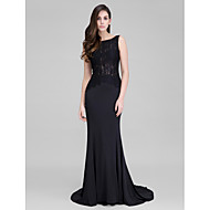 TS Couture Prom Formal Evening Dress - Sexy Trumpet / Mermaid Bateau Court Train Lace Jersey with Buttons Lace