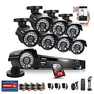 annke® 8 canales CCTV 1TB 960H sistema DVR 8pcs 800tvl kits tiempo del IR de vigilancia de la seguridad casera de la cámara circuito