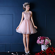 Cocktail Party Dress-Ruby / Pearl Pink Ball Gown Notched Knee-length Lace