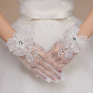Polslengte Vingertoppen Handschoen Tule Bruidshandschoenen Feest/uitgaanshandschoenen Pailletten Strik Strass Kant