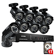 ZOSI@HDMI 8CH 960H Network DVR 1TB HDD 8PCS 800TVL IR Outdoor CCTV Security Cameras System