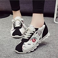 Women's Shoes Floral Suede Flat Heel Comfort Fashion Sneakers Outdoor / Athletic / Casual Black / Gray