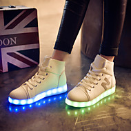 Women's Spring Fall Winter Light Up Shoes Leatherette Outdoor Athletic Casual Flat Heel Lace-up Black White