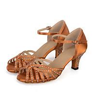 Chaussures de danse(Noir Marron Gris) -Personnalisables-Talon Bobine-Satin-Ventre Latine Jazz Baskets de Danse Moderne Samba Chaussures