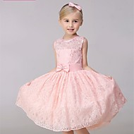 A-line Knee-length Flower Girl Dress - Lace Sleeveless Jewel with