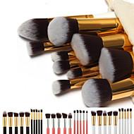 Set di pennelli da trucco professionali, manico dorato, sacca portapennelli inclusa, 10 pennelli