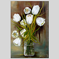 Håndmalte Still Life / Blomstret/BotaniskModerne / Europeisk Stil Et Panel Lerret Hang malte oljemaleri For Hjem Dekor