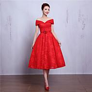 Cocktail Party Dress-Ruby / Burgundy A-line V-neck Tea-length Lace