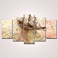 Modern Kanvas Beş Panelli Hang Hazır,Yatay