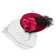 Vrouwen / Bloemenmeisje Veren / Fluweel / Net Helm-Bruiloft / Speciale gelegenheden Net Sluier 1 Stuk