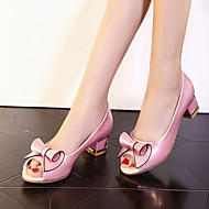 Elől kivágott Lábujj-Vastag-Női cipő-Szandál-Ruha / Alkalmi / Party és Estélyi-Bőrutánzat-Rózsaszín / Fehér