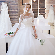 Ball Gown Wedding Dress Sweep / Brush Train Scoop Satin / Tulle with Appliques