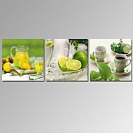 VISUAL STAR®3 Panel Lemon Fruit Canvas Prints Kitchen Room Decor Canvas Wall Art Ready to Hang