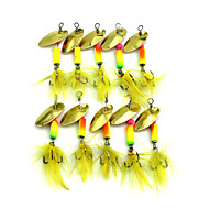 """10pcs יח ' פתיונות דיג ופתיונות באז וספינר / כפיות צבעים אקראיים 3.7G g/1/8 אונקיה,55mm mm/2-1/4"""" אינץ ',מתכת / נוצותדיג בים / דייג במים"""