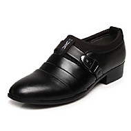 Men's Spring Summer Fall PU Outdoor Office & Career Casual Party & Evening Low Heel Buckle Black Brown White