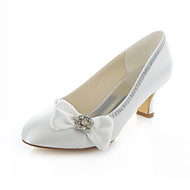 Women's Shoes Stretch Satin Chunky Heel Heels / Round Toe Heels Wedding / Party & Evening / Dress Ivory