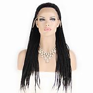 mode syntetiska peruker spets front peruker 32inch flätat svart värmebeständigt hår peruker kvinnor