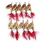 """10pcs יח ' פתיונות דיג ופתיונות באז וספינר / כפיות צבעים אקראיים 5.3G g/1/6 אונקיה,65mm mm/2-5/8"""" אינץ ',מתכת / נוצותדיג בים / דייג במים"""