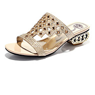 נעלי נשים-סנדלים-נצנצים-נוחות-שחור / זהב-חתונה / שמלה / קז'ואל / מסיבה וערב-עקב עבה