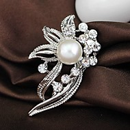Wedding Style Elegant Silver Plated Rhinestone Brooch(Random Color)