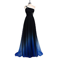 Formal Evening Dress Sheath / Column One Shoulder Sweep / Brush Train Chiffon with Beading / Side Draping