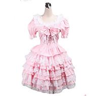 abito dolce lolita corto rosa in cotone manica corta