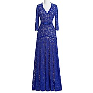 Sheath / Column Mother of the Bride Dress Floor-length Lace with Appliques / Lace / Sash / Ribbon