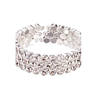 Three Layer Rhinestone Crystal No Clasp Elastic cuff Bangles Bracelet Jewelry (One Size for All)