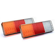 2x 75 LED Red/Yellow/White Tail Light Lamp for Trailer Truck Boat Waterproof 12V