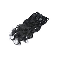 """15""""-22"""" 7pcs/set Clip in Human Hair Extensions Wavy Malaysian Virgin Hair Clip Ins Body Wave #1 Jet Black For"""