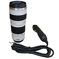 450ml Camera Lens Mug Travel Heating Cup Car Adapter Stainless Steel Liner Insulation Cup Coffee Electric Mug