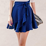 Women's Striped Blue Skirts,Vintage / Street chic Mini